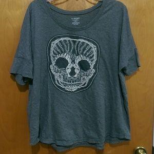 Lane Bryant embroidered skull tee-shirt